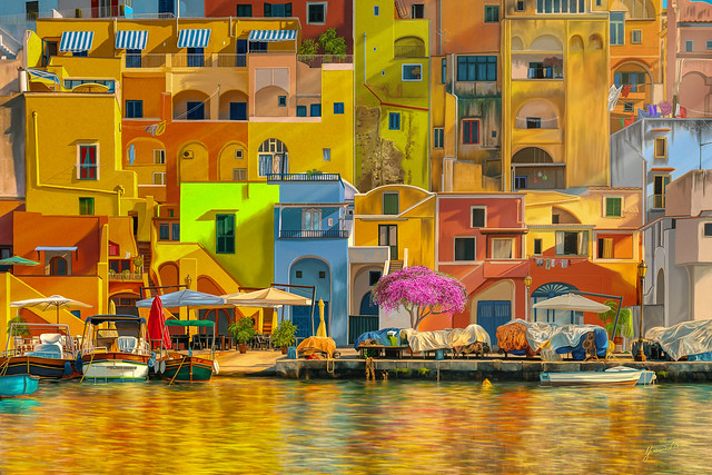 Colours of Procida, painting, for max. 120cm