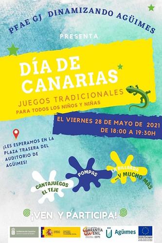 Cartel informativo de las actividades del Día de Canarias del PFAE-GJ Dinamizando Agüimes