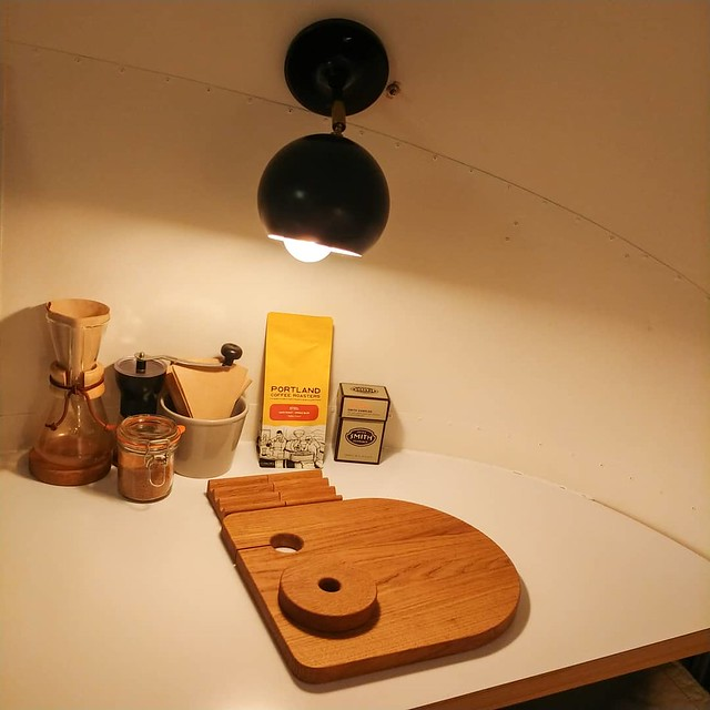 #airbnb #airstream #rental #kitchen #wallsconce #cuttingboard #coffee #☕