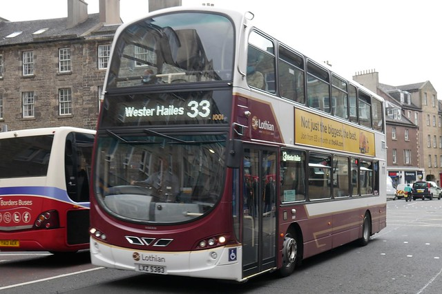 Lothian Volvo B9TL Wright Eclipse Gemini 2 LXZ5383 1001 operating service 33 to Wester Hailes at Nicolson Street on 24 May 2021.