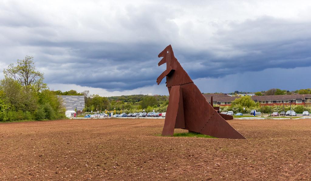 Rampaging Dinosaur Artwork - Warwick University Campus -18 May 2021