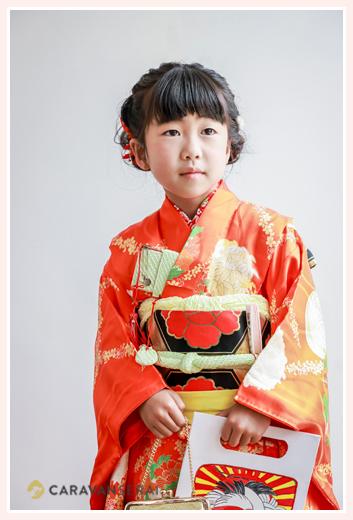 7歳の七五三 オレンジのお着物