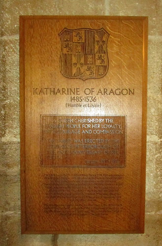 Plaque Above Katharine of Aragon's Tomb, Peterborough Cathedral