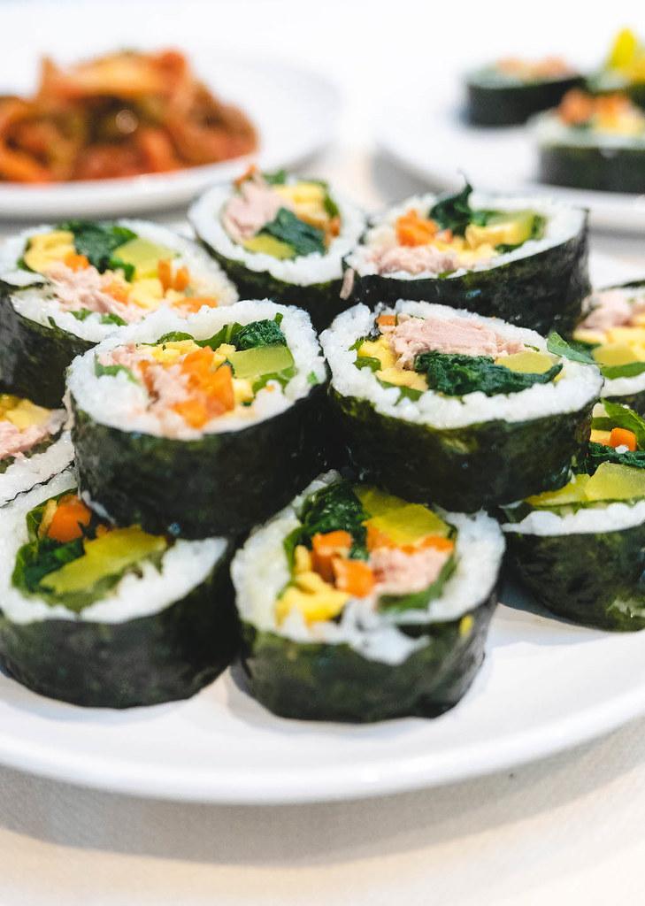 A close up shot of tuna kimbap.
