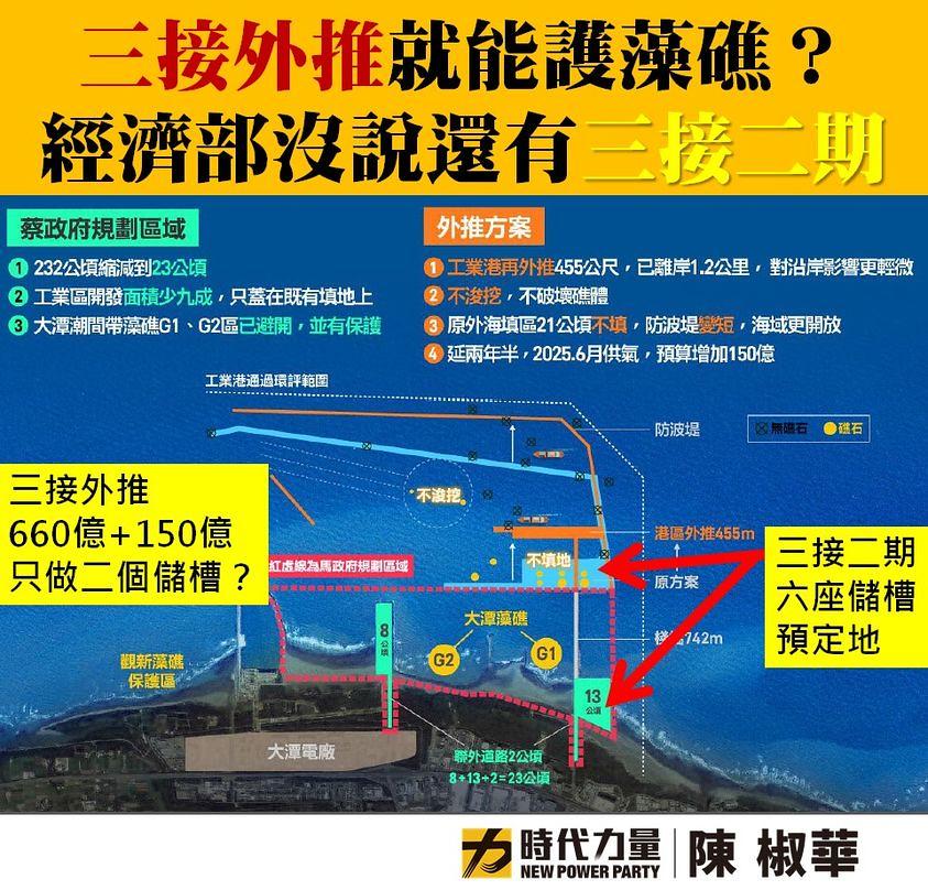 立委陳椒華指出,中油預算書中三接二期計畫將會於填方區蓋天然氣儲槽。取自陳椒華臉書
