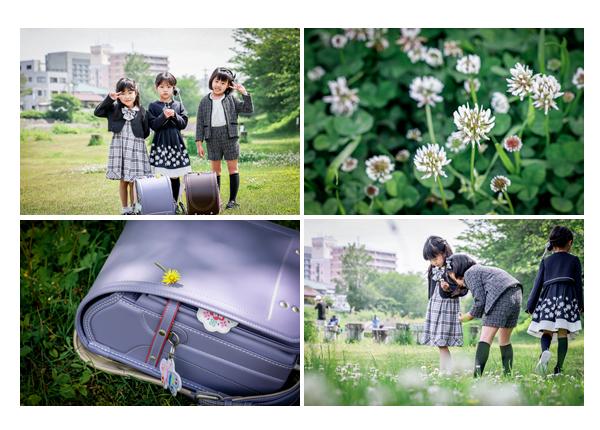 お友達と一緒に! 小学校入学記念のロケーションフォト ライトパープルのランドセル