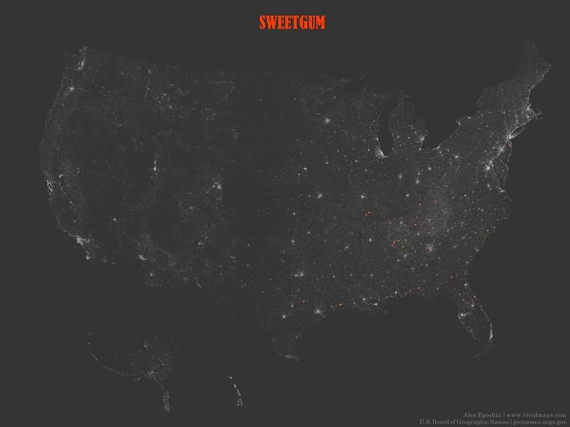 Sweetgum - Toponymic Map