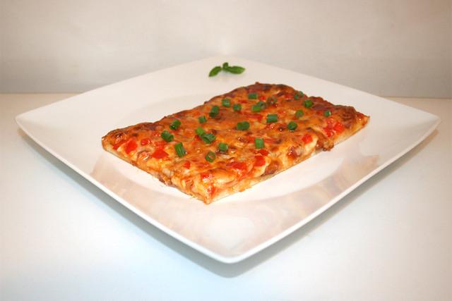 12 - Pizza with salami, onion & bell pepper - Side view / Pizza mit Salami, Zwiebel & Paprika - Seitenansicht