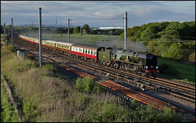 Golborne Junction, West Country Pacific 34046 'Braunton' 'The Fellsman' 1Z32 (15.44 Carlisle - Crewe) 26/05/21.