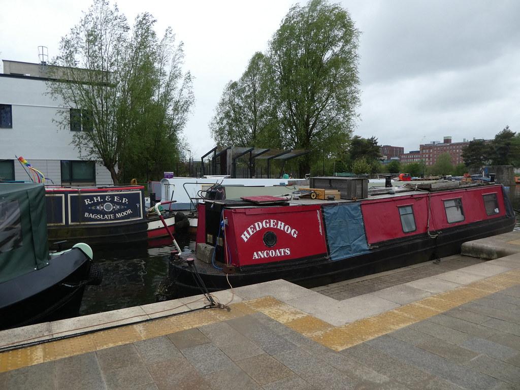 Narrow boats moored at New Islington, Manchester