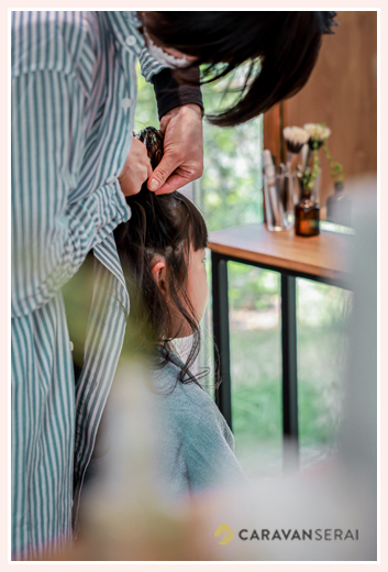 愛知県瀬戸市のスタッフ一人、完全予約の美容院 七五三のヘアスタイリング