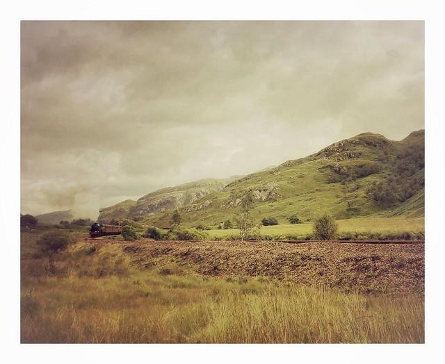 The 'Jacobite' leaving Glenfinnan, Lochaber