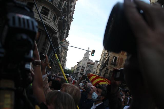 Acto de apoyo a la Policía Nacional en Vía Layetana de Barcelona ante el anuncio de su desalojo por parte del presidente Pere Aragonés García (ERC)