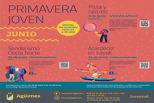 Cartel del programa de actividades del área de Juventud del Ayuntamiento de Agüimes