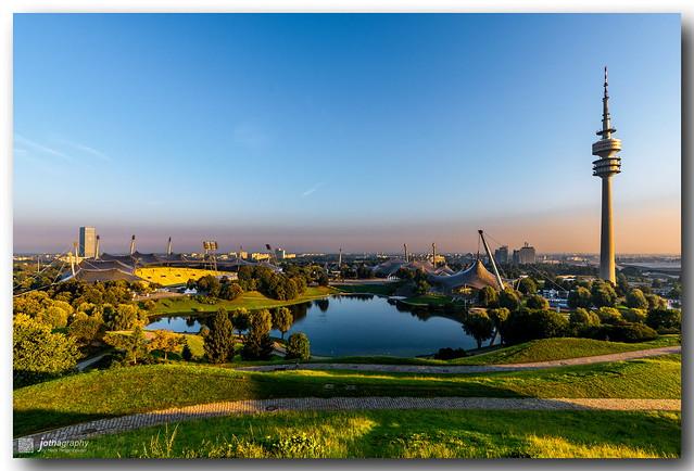 Munich Olympic park at sunrise