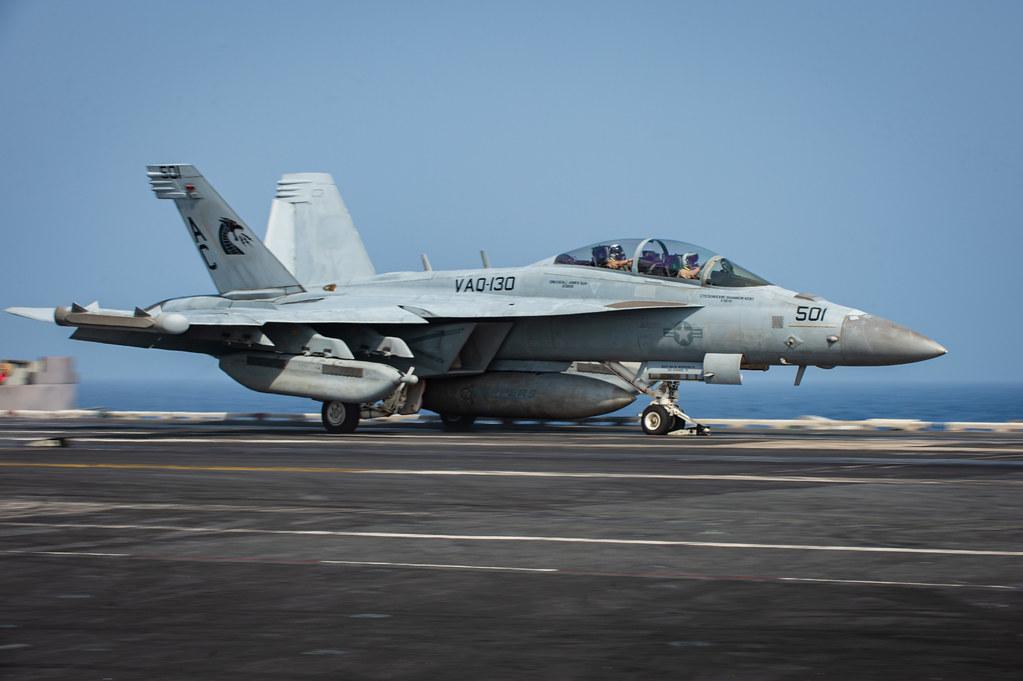 An E/A-18G Growler launches from USS Dwight D. Eisenhower (CVN 69) during flight operations in the Arabian Sea.