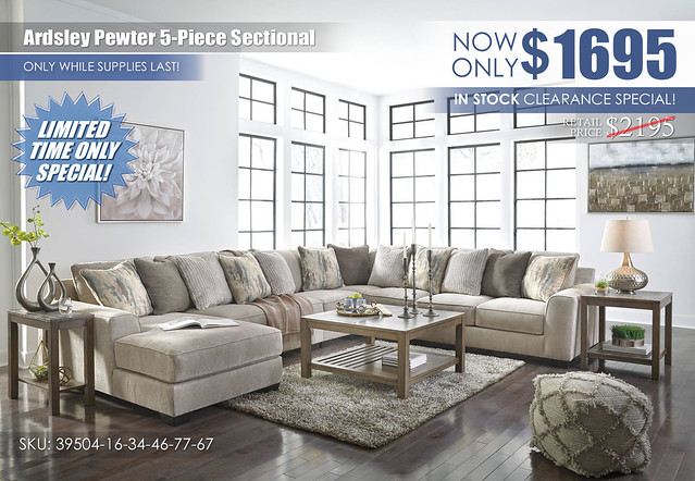 Ardsley Pewter 5-Piece Sectional_39504_InStockSpecial