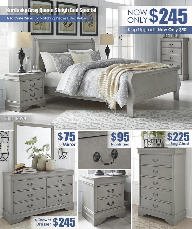Kordasky Gray Queen Bed_B398