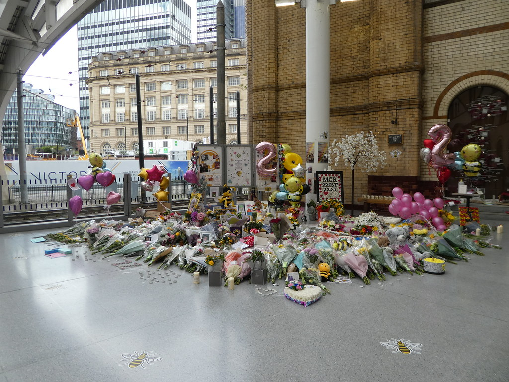 Memorial tribute on the anniversary of the Manchester Arena bomb blast, Victoria Station