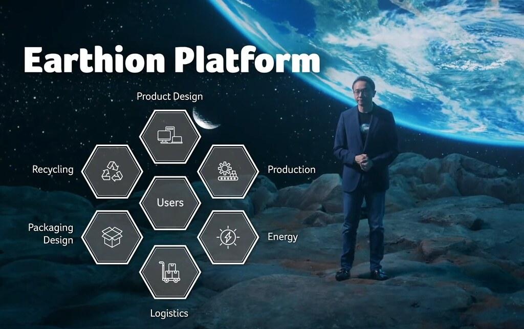 宏碁公司執行長陳俊聖提出「Earthion永續平台」計畫。擷取直播