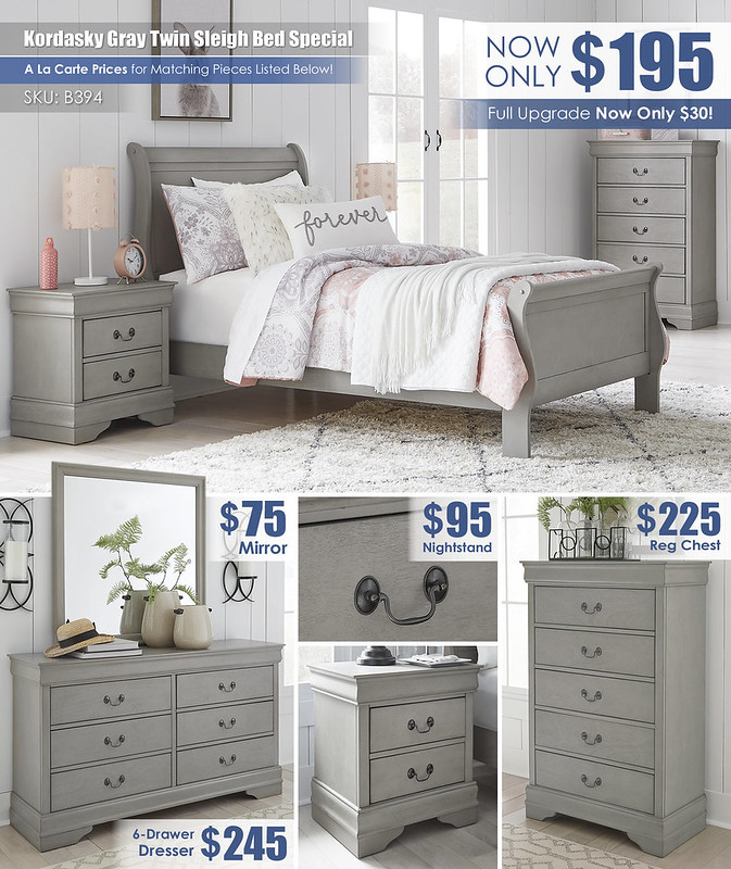 Kordasky Gray Twin Bed_B398