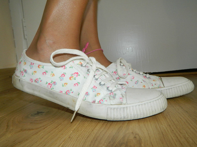 A pair of my Cath Kidston lace up plimsolls as worn by their first owner