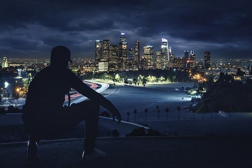 california ca city blue urban silhouette skyline night skyscraper dark la losangeles downtown moody cityscape cloudy lighttrails overlook viewpoint dtla elysianpark urbanlandscape dodgerstadium angelespoint nighttime