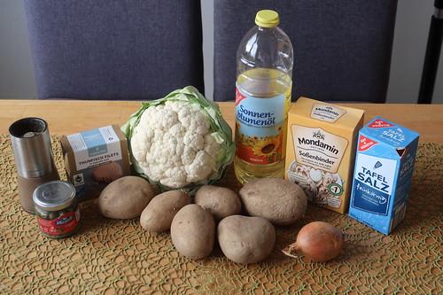 Zutaten für Blumenkohl mit Thunfischsoße und Salzkartoffeln