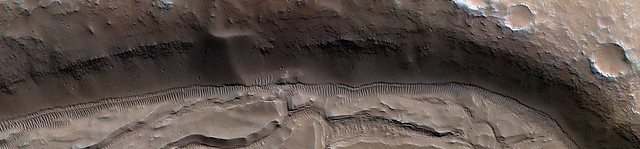 Mars - Crater with Outlet Channel in Southern Highlands