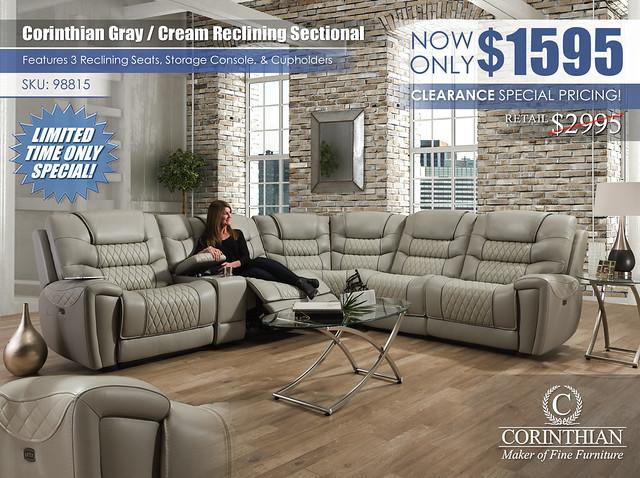 Corinthian Light Gray Cream Reclining Sectional_98815_2021