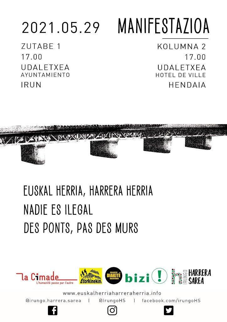 Euskal Herria herri harrera Nadie es ilegal Des ponts pas des mur