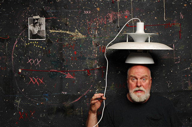 The Man with a Danish Modern Lamp on his Head