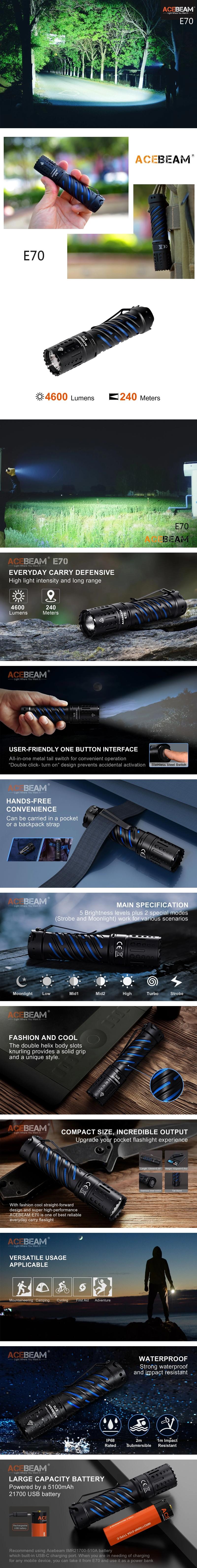 0【錸特光電】ACEBEAM E70 4600流明 240米 強光戰術手電筒 Cree XHP70.2 USB-C充電 21700鋰電池 E4K G15