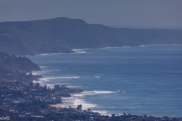 Picturesque coastline north of Wollongong on a hazy morning, Wollongong, New South Wales, Australia