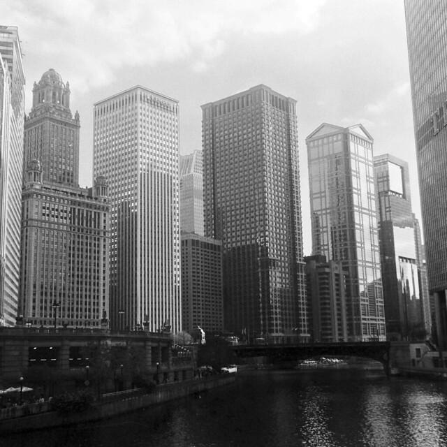Chicago River skyline from the Michigan Avenue bridge