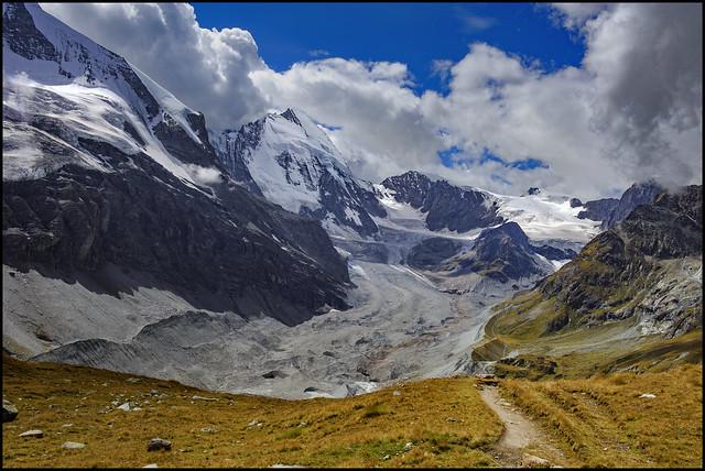The Matterhorn , the Dent d'Hérens  the Z'mutt glacier.and