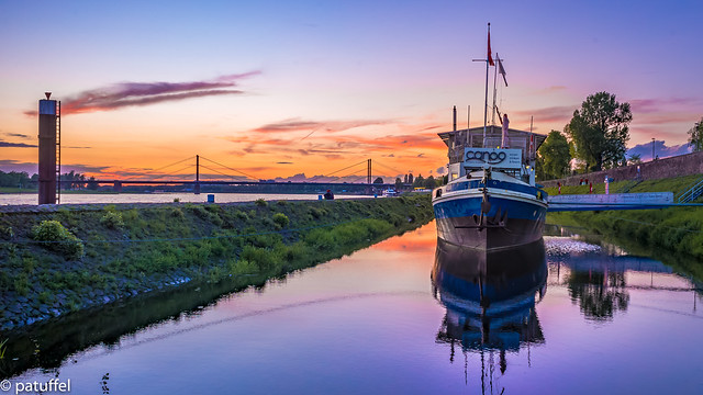 Ship reflected during sunset