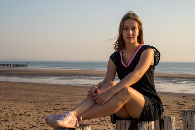 Enjoying a summer evening by the sea