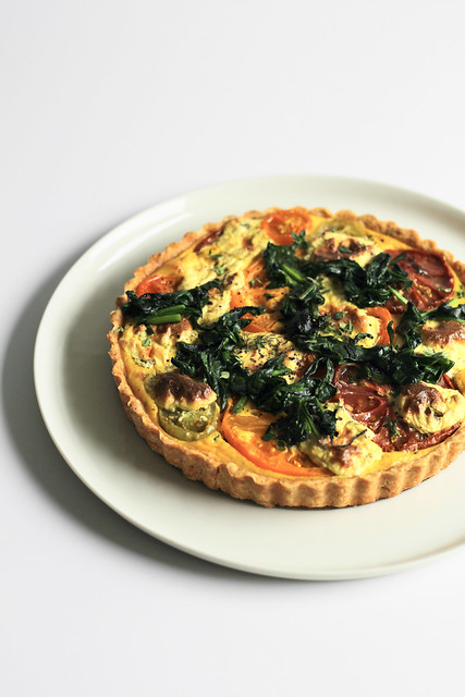 tomato tart with mustard and ricotta