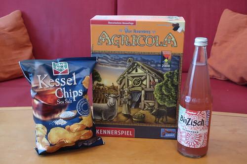 """BioZisch Rhabarber und Sea Salt Kessel Chips zum Brettspiel """"Agricola"""""""