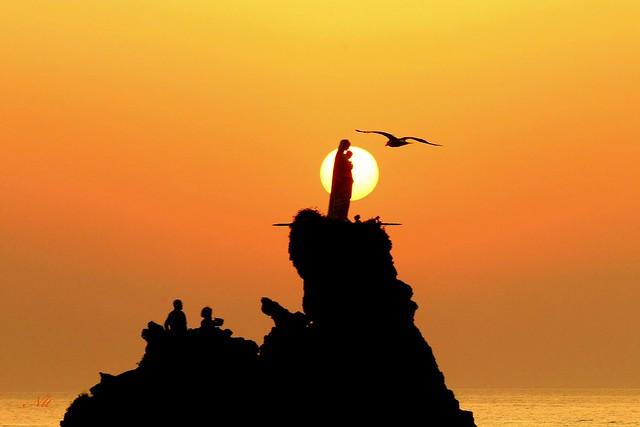 Sunset sur le rocher de la Vierge, Biarritz