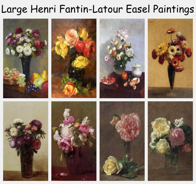 Large Henri Fantin-Latour Easel Paintings