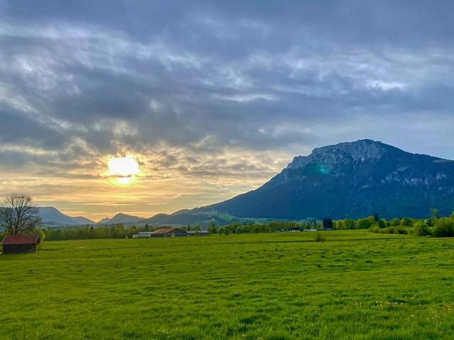 Sunrise over the river Inn valley and Zahmer Kaiser mountain range in Bavaria, Germany