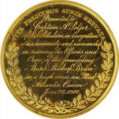 1902 Life Saving Benevolent Association of New York Medal reverse
