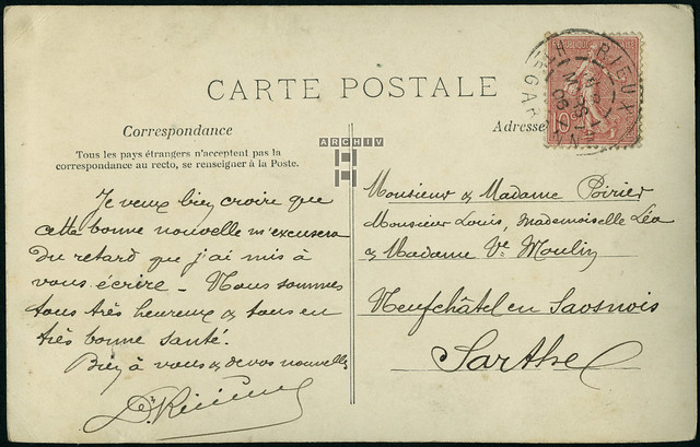 ArchivTappen233A990 Postkarte (back), Frankreich, 1900er