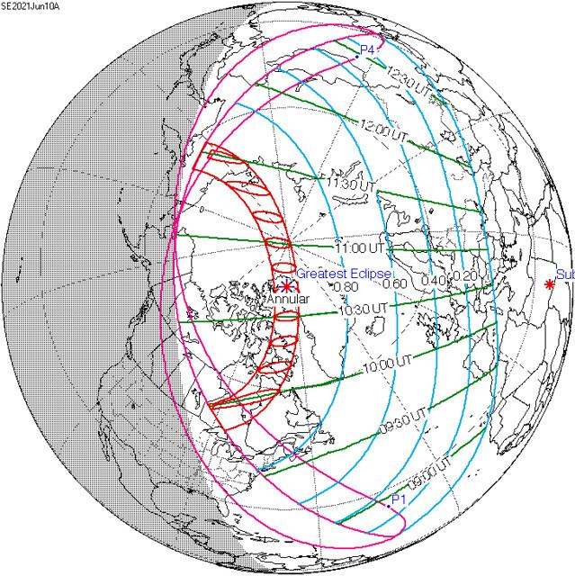 VCSE - 2021. június 10-én gyűrűs napfogytakozás a vörös vonalak között jelölt részről látható. Csillaggal megjelölték a legnagyobb fogyatkozás helyét. A kék vonalakon belüli földrajzi helyekről részleges napfogyatkozás lesz látható derült időben, a vörös vonalaktül távolodva egyre kisebb mértékű. - Forrás: wikipedia