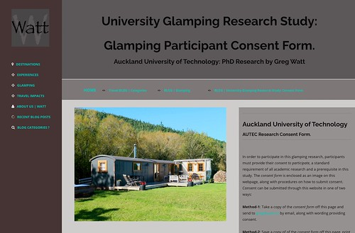 The Glamping Participant Consent Form enables participants in the research to acknowledge their consent to take part in the Glamping Study.