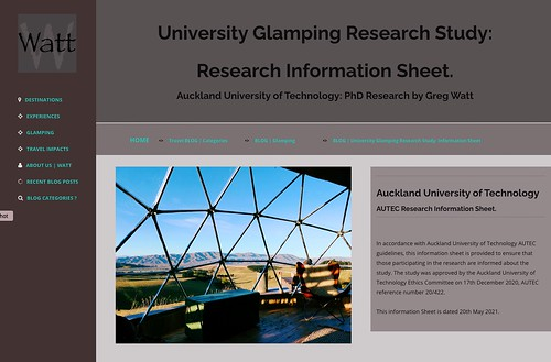 The Glamping Research Information Sheet has detailed particulars regarding the Glamping Research Study applying to Glampers and Glamping Entrepreneurs who wish to participate in the Study