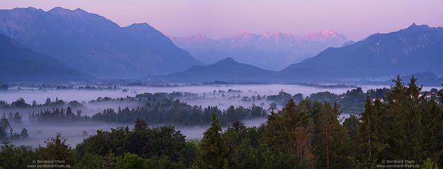 Summer morning panorama at Loisachtal