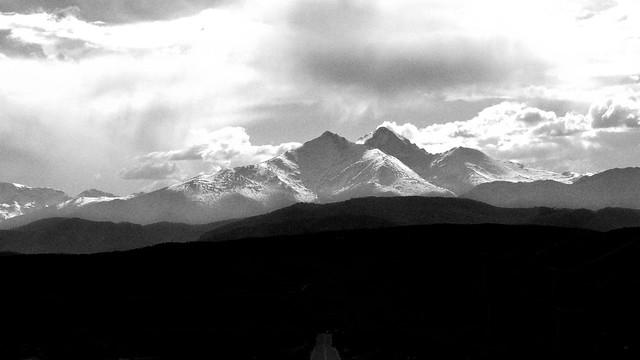 Mt. Meeker and Longs Peak. B&W.